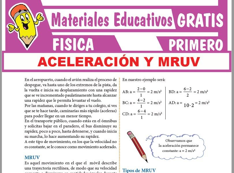 Ficha de Aceleración y MRUV para Primer Grado de Secundaria