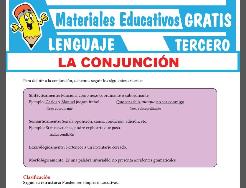 Clases de Conjunciones para Tercer Grado de Secundaria