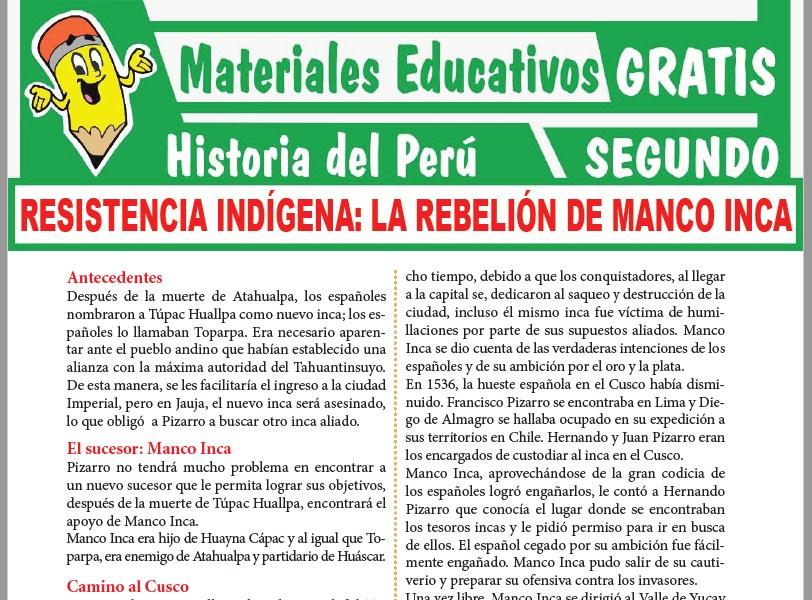 Ficha de La Rebelión de Manco Inca para Segundo Grado de Secundaria