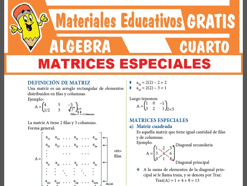 Matrices Especiales para Cuarto Grado de Secundaria
