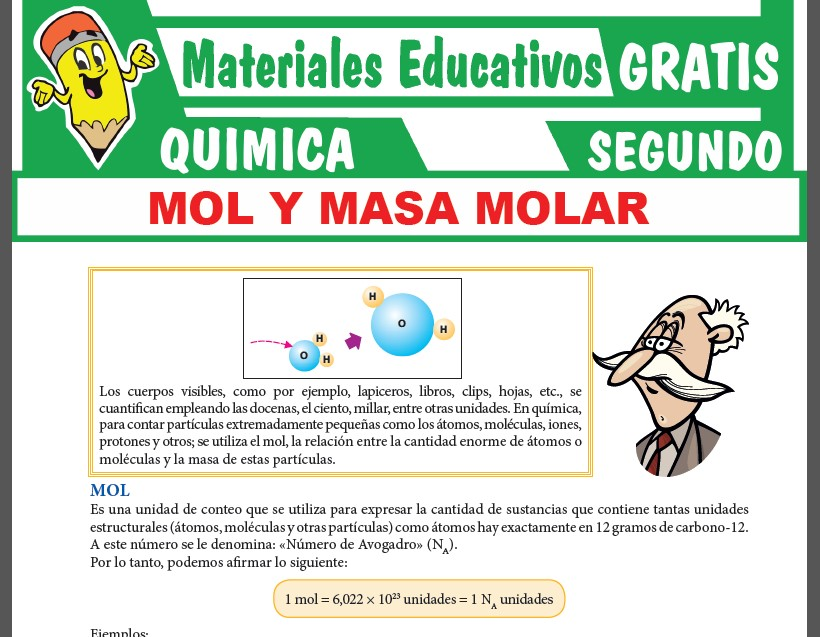 Mol y Masa Molar para Segundo Grado de Secundaria