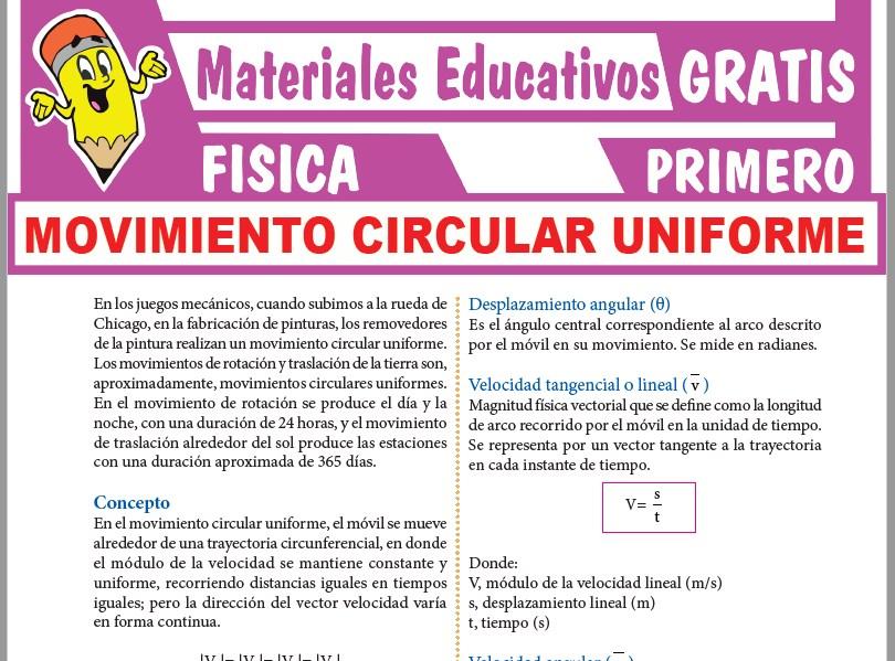 Ficha de Movimiento Circular Uniforme para Primer Grado de Secundaria