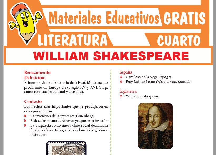 Ficha de William Shakespeare para Cuarto Grado de Secundaria